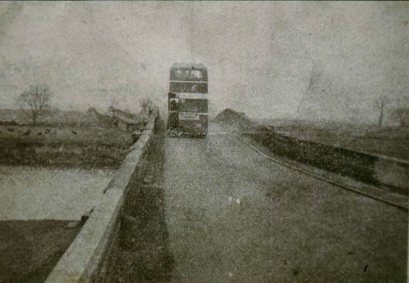 Bus on Methley Water Bridge, mid 1950s.
