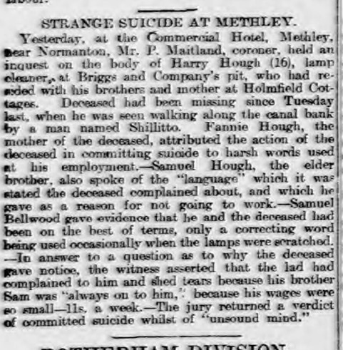 strange suicide at methley
