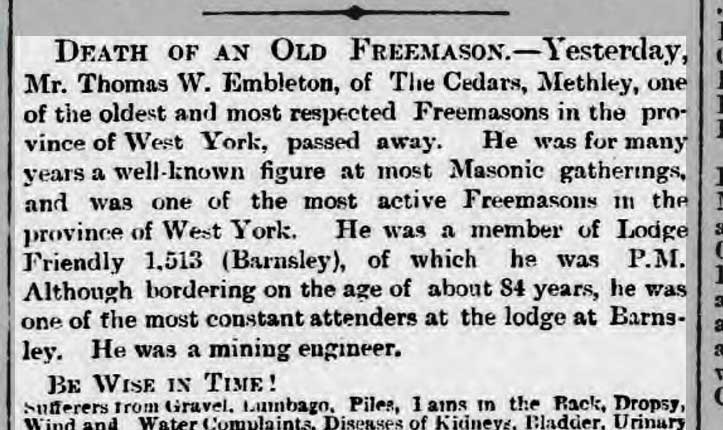 Death of an Old Freemason
