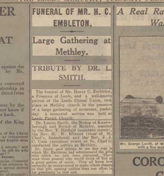 funeral of Mr. Henry C. Embleton