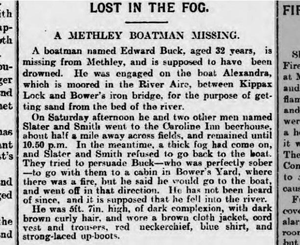 LOST IN THE FOG - A METHLEY BOATMAN MISSING