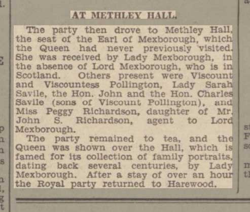 the queen at methley hall 1935