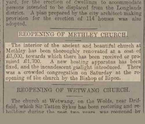 reopening of methley church